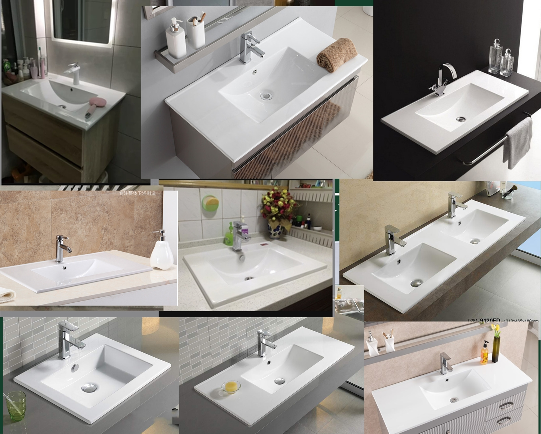10月19日最新优惠陶瓷洗脸盆浴室柜面盆 薄边盆窄长一体台面酒店1.5米超大双盆40宽