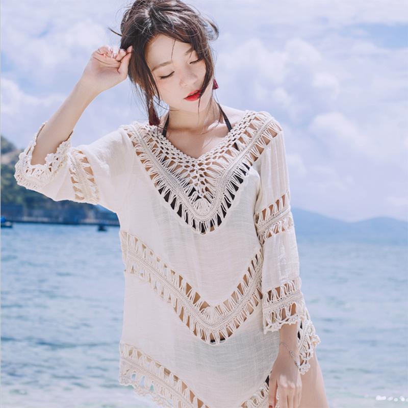 艾慕狐新款镂空流苏性感比基尼罩衫海边度假泳衣夏季防晒三件套白