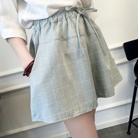 夏季新款韩版棉麻格子短裤女潮宽松大码显瘦学生阔腿裙裤休闲热裤图片