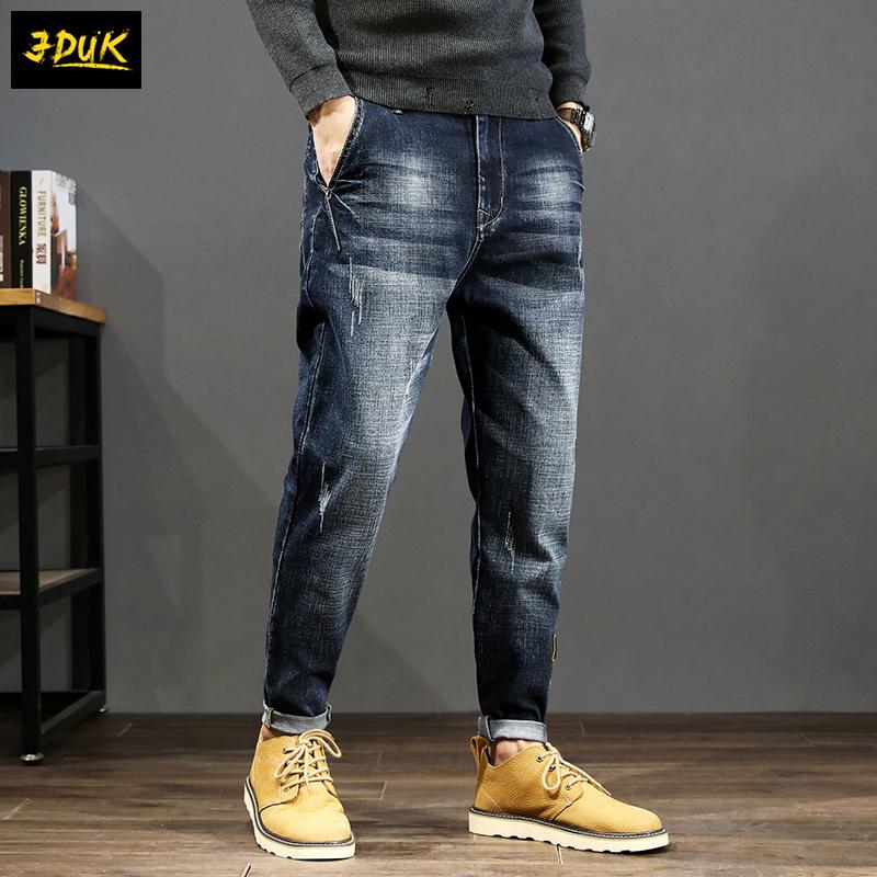 Hong Kong high end fashion brand jeans mens loose retro trend small foot large casual versatile mens Harlan pants