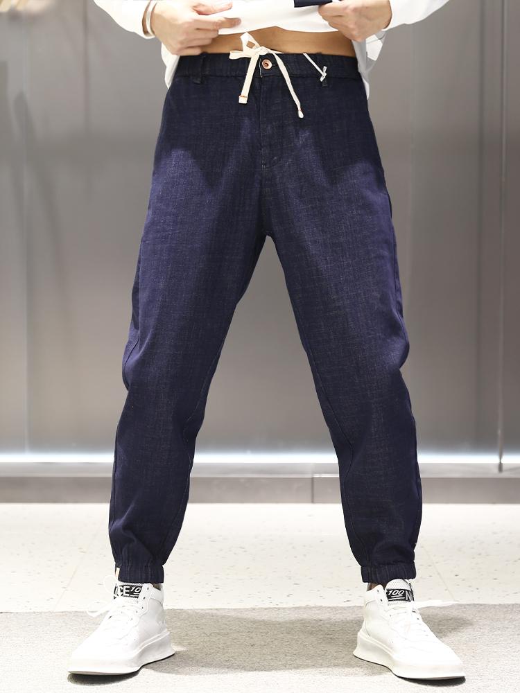 Calf Blue Pants Medium slim casual summer elastic tapered versatile waist band thin 9-point solid color pure version Leggings
