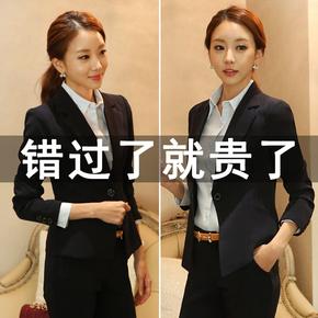 小西装女韩版修身面试正装春秋上衣短款工作服女式休闲西服外套潮