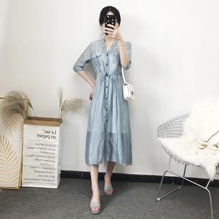 连衣裙女收腰显瘦温柔很复古衬衫 匡姿夏季 衣中长款 超仙冷淡风