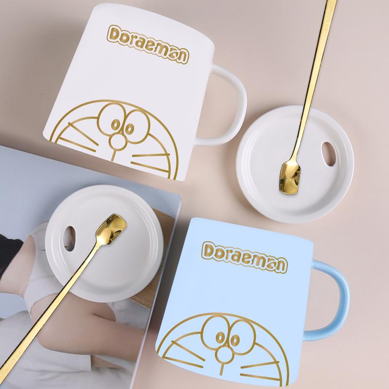马克杯陶瓷带盖勺哆啦a梦水杯情侣一对款杯子创意个性潮流咖啡杯