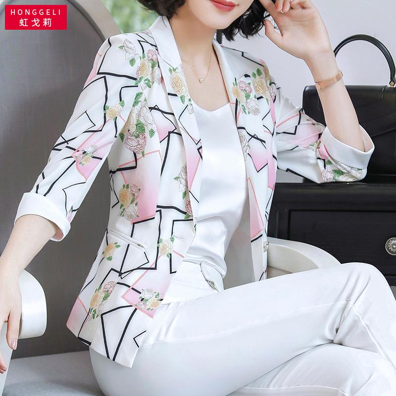 印花小西装外套女夏短款小香风耸肩复古气质白色韩版中年chic西服