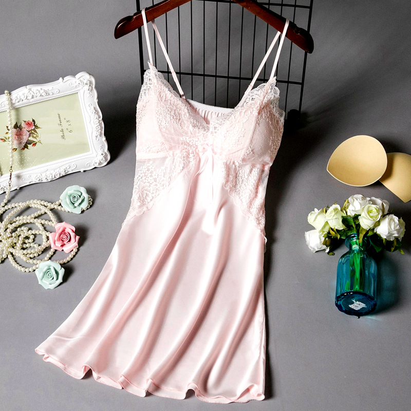 睡衣女夏季薄款蕾丝性感吊带睡裙带胸垫冰丝绸情趣极度诱惑家居服