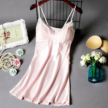 睡衣女夏季薄款蕾丝性感吊带睡衣裙带胸垫冰丝绸情趣内衣激情诱惑