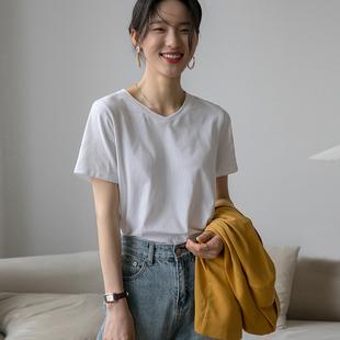 2021年夏新款短袖v领纯棉t恤U领锁骨上衣心机设计感打底衫女内搭
