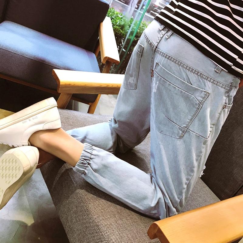 九分牛仔裤男收脚韩版修身港风浅色束脚哈伦裤潮9分收口小脚裤子