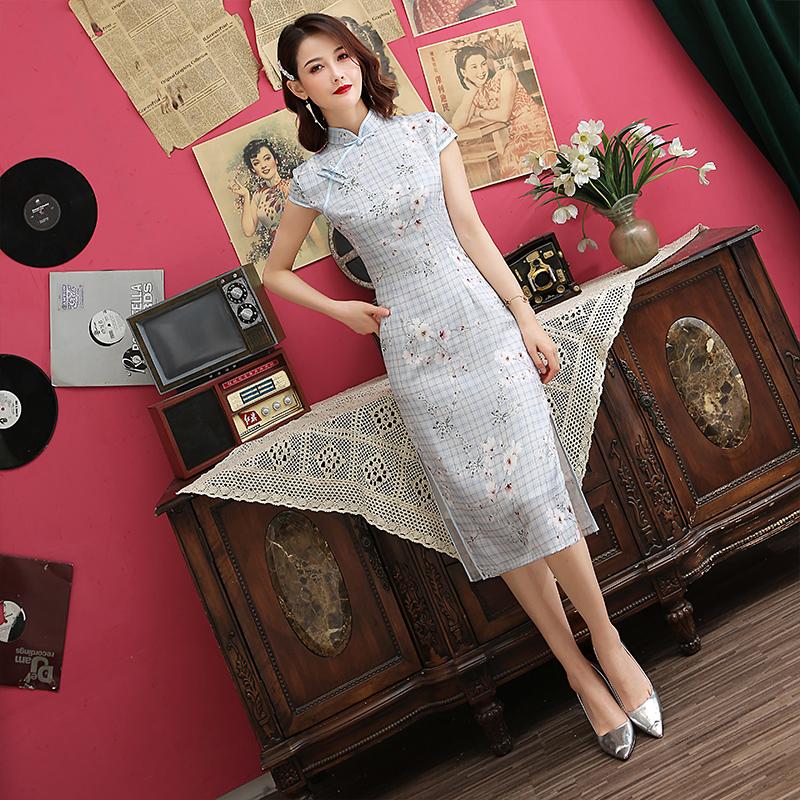日常新式复古格子旗袍改良版连衣裙中长款女年轻款少女学生清新夏