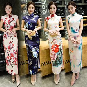 2020新款少女走秀旗袍长款女年轻款气质时尚复古改良中国