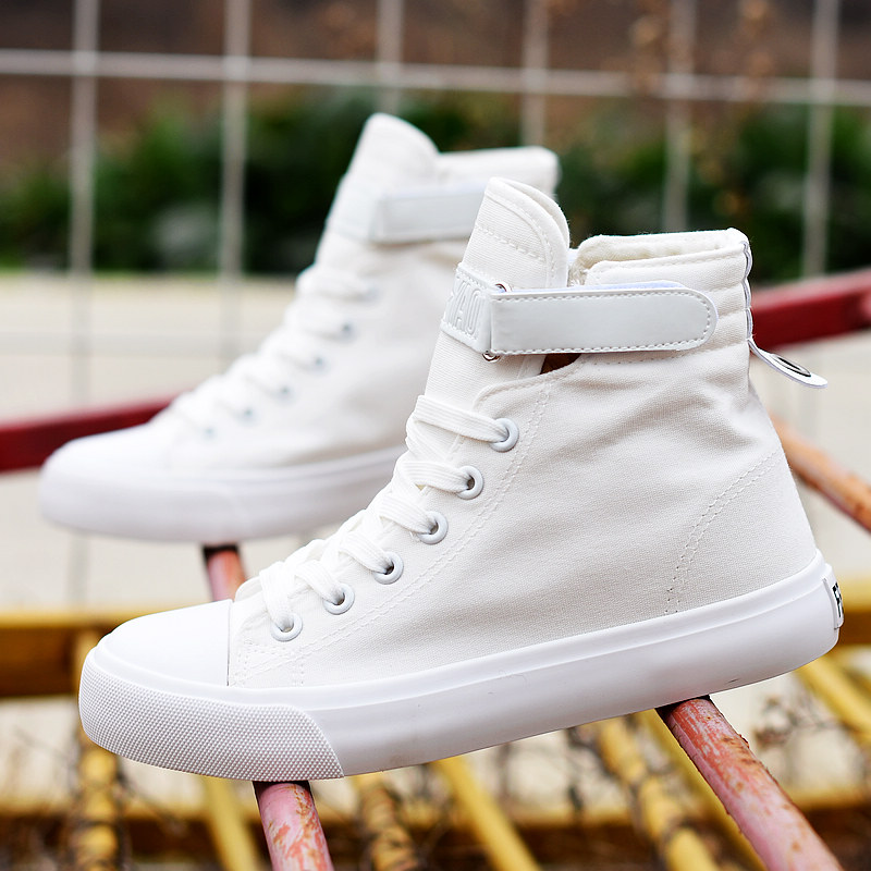 Feiyao womens high top flat canvas shoes Korean spring Velcro casual sports board shoes show thin white shoes