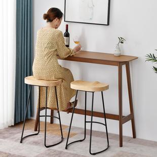 吧台桌实木高脚桌子家用吧台圆桌创意简约吧台组合靠墙长条酒吧台
