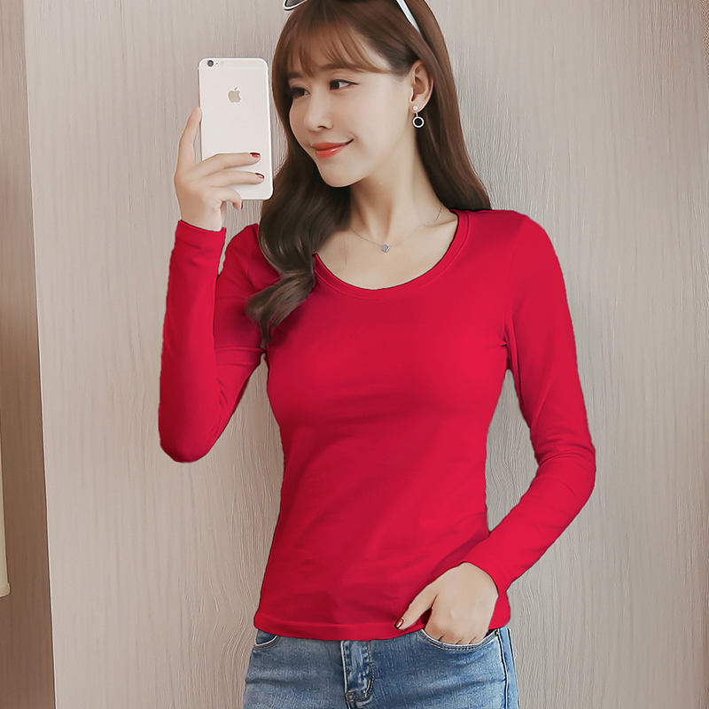 Cotton round neck bottoming shirt womens long sleeve autumn and winter versatile 2018 new solid color Korean T-shirt autumn cotton top