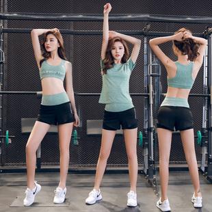 韩版瑜伽服套装健身房跑步短裤大码宽松速干衣晨跑运动套装女夏季