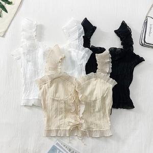 442#夏季新款韓版性感短款蕾絲雪紡內搭小背心吊帶內搭外穿女上衣