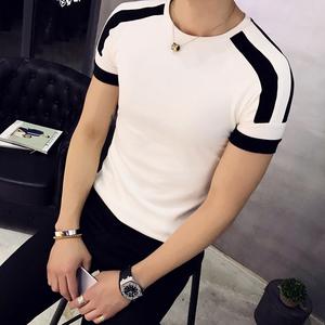 潮男时尚男装韩版修身圆领白色网红衣服半袖青年打底衫短袖t恤男