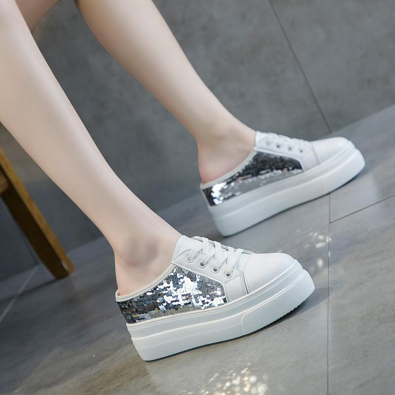 欧美内增高外穿夏季懒人松糕小白鞋(非品牌)