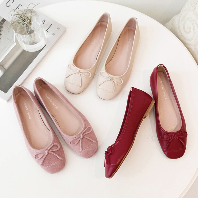 New Korean bow Ballet Flat Shoes in autumn of 2019