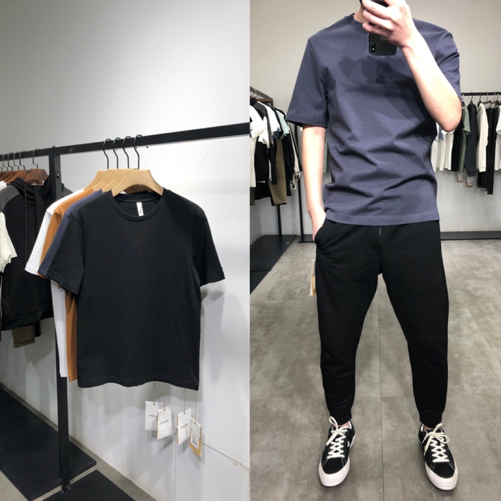 Summer new mens top: basic solid T-shirt, simple and generous pullover, round neck top in 2020