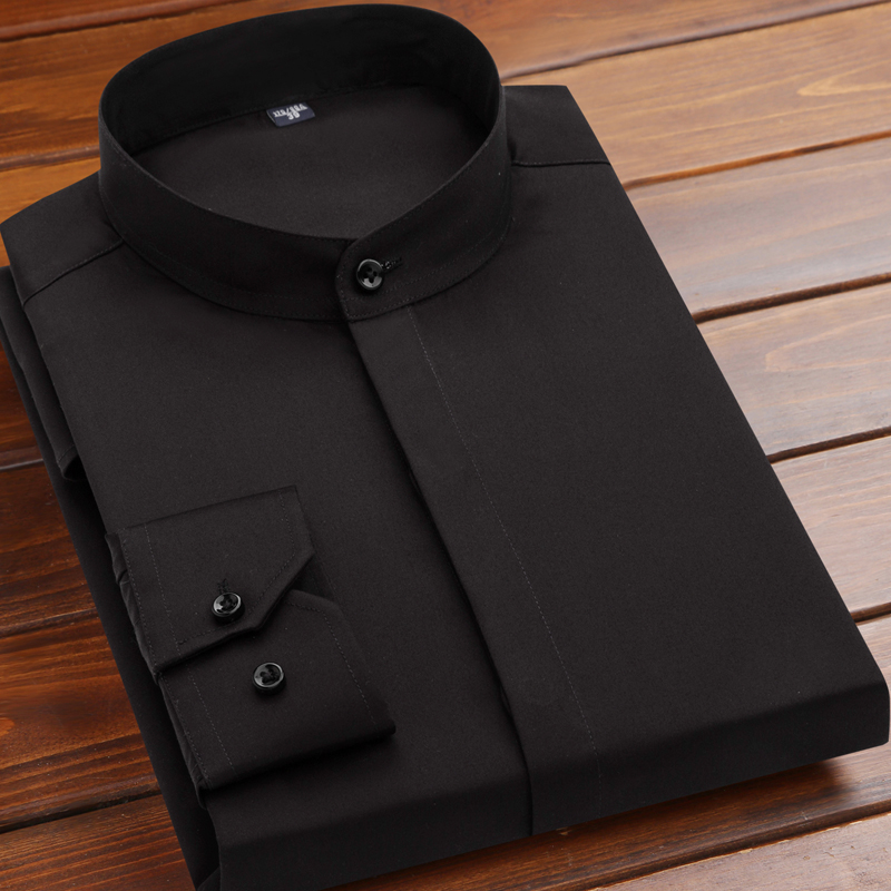 2020 new mercerized cotton Chinese standing collar Long Sleeve Shirt Mens cotton dark placket round neck easy to wear shirt cotton