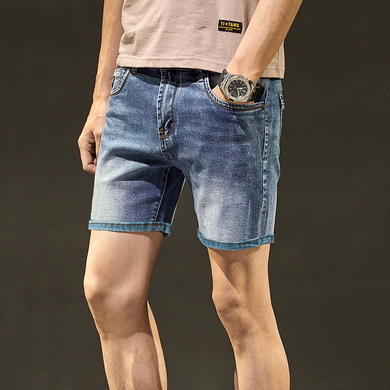 Thin 3-point denim shorts for boys summer casual elastic fit loose Korean 5-point jeans for men