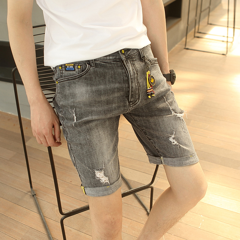 Denim shorts mens summer thin Capris mens 5-point breeches retro perforated pants slim elastic pants trend