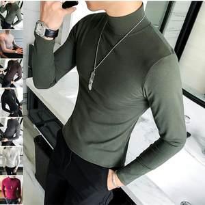 ~春款男士修身纯色中领打底衫韩版抓绒青年紧身半高领T恤秋衣潮。