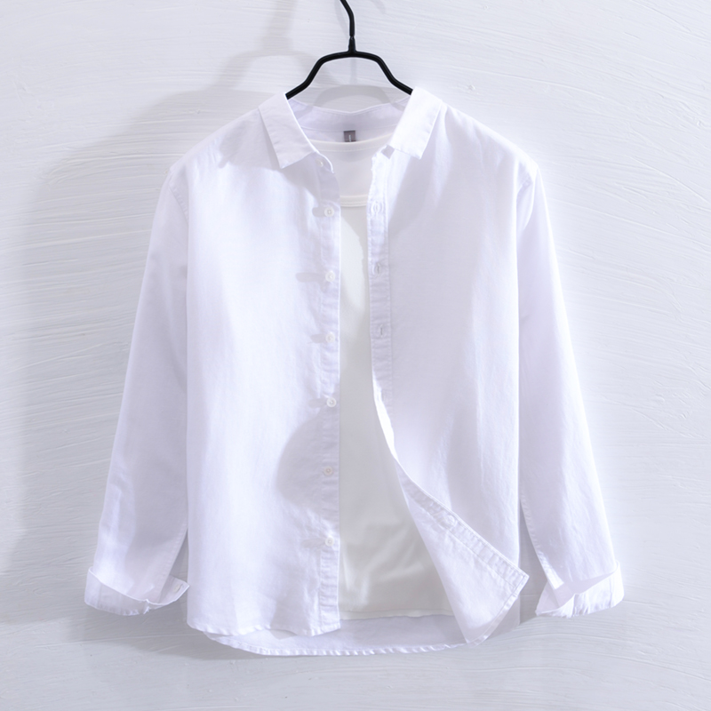 Stand collar Linen Shirt Mens long sleeve loose large size summer thin Chinese casual breathable cotton linen white shirt