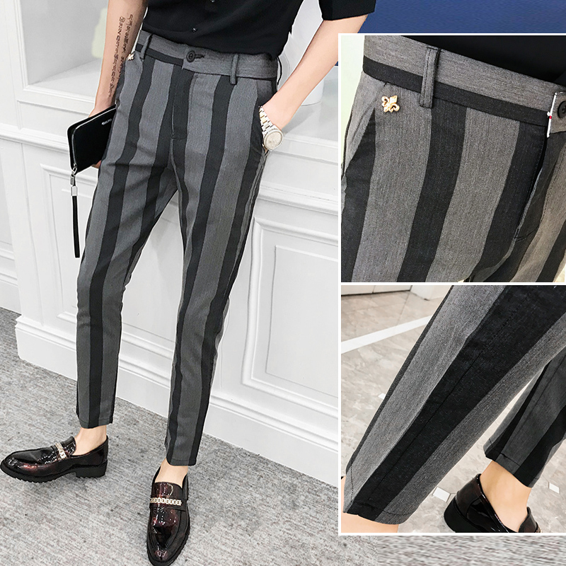 Vertical striped trousers for mens slim feet 9-point Korean Trend summer leisure 9-point drape mens suit pants