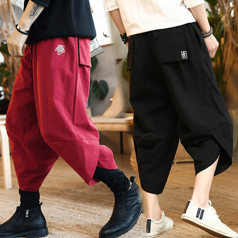 Summer Chinese style linen Capris mens loose casual Harun pants trendy fat big hip hop beach shorts lantern