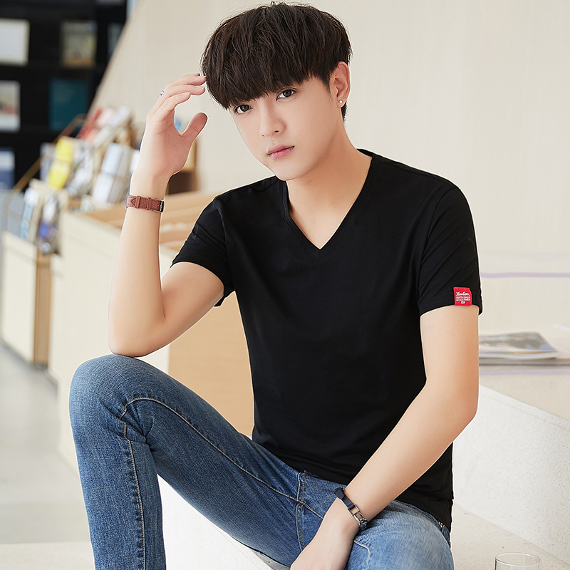 Mens Short Sleeve T-Shirt Top 2020 new summer youth Korean fashion brand bottomed shirt V-neck cotton half sleeve T-shirt