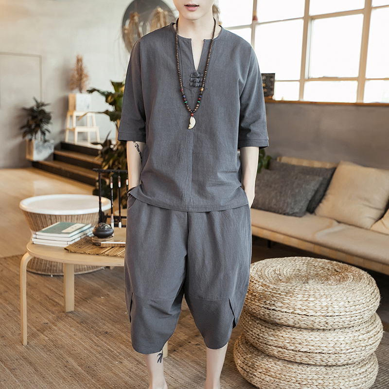 Mens summer mens short sleeve 2020 new cotton linen suit mens Chinese style T-shirt a suit of clothes for mens handsome