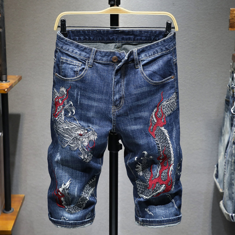 Dragon Embroidered Denim Shorts mens cotton personality trendy Chinese style retro pants elastic slim embroidered horse pants