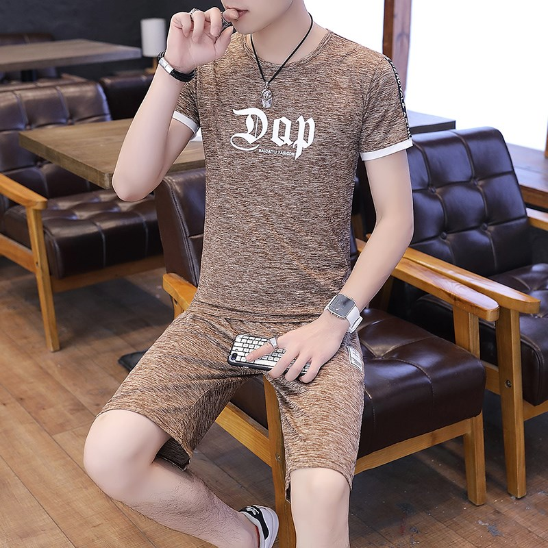 Short sleeve suit mens slim fit quick dry clothes casual sports shorts half sleeve T-shirt 2 two piece Capris one set