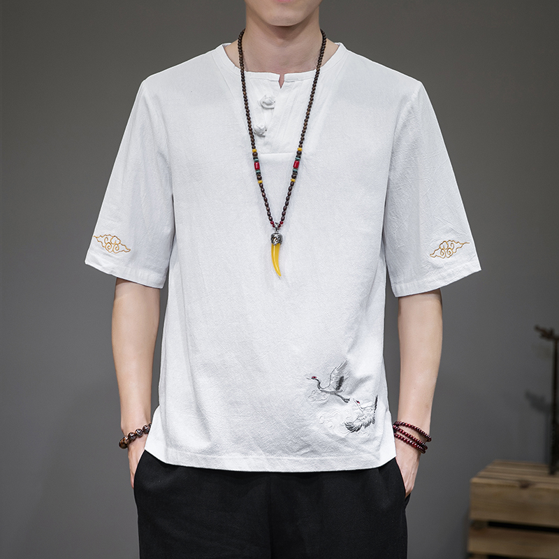 Linen short sleeve t-shirt mens summer retro Tang style half sleeve Chinese oversize loose T-shirt fashion brand embroidered mens wear