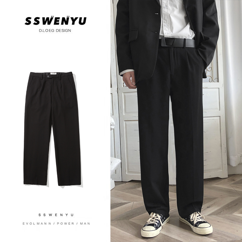 Fall feeling wide leg pants straight tube mens spring and summer suit pants Korean loose drape black casual pants mens trend
