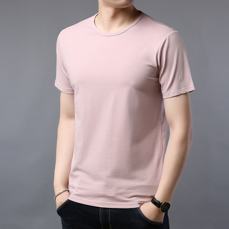 Modal mens short sleeve T-shirt summer mens cotton ice silk half sleeve solid color base coat fashionable clothes