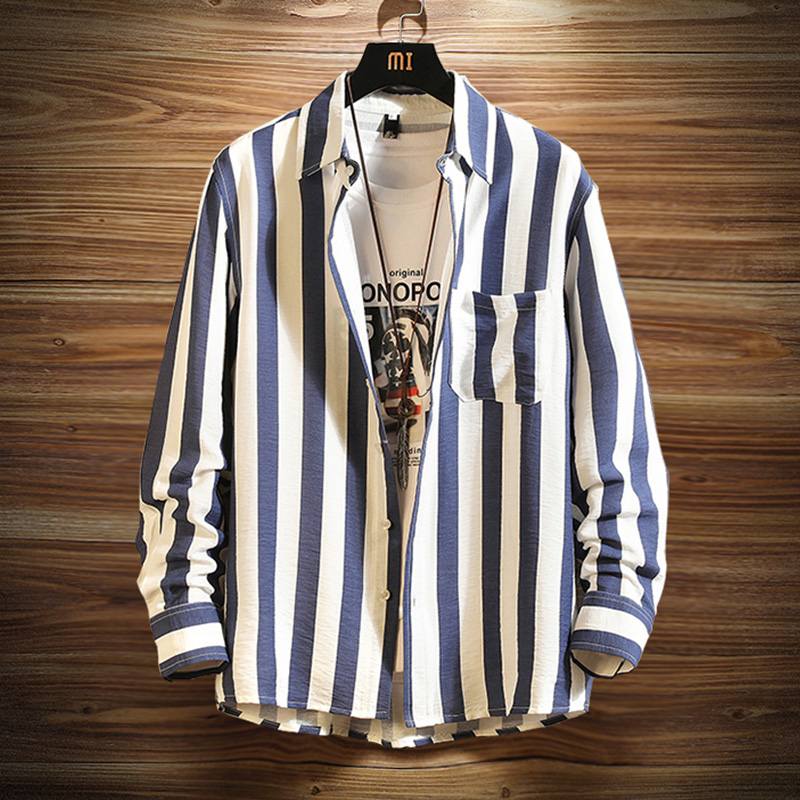 Mens Long Sleeve Striped Shirt 2020 spring new Korean fashion handsome big size loose casual youth shirt