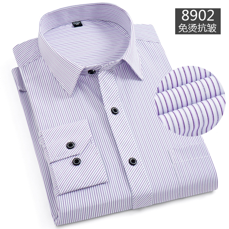 ? Middle aged mens long sleeve shirt 40-50 years old fathers spring and autumn thin iron free stripe loose lining