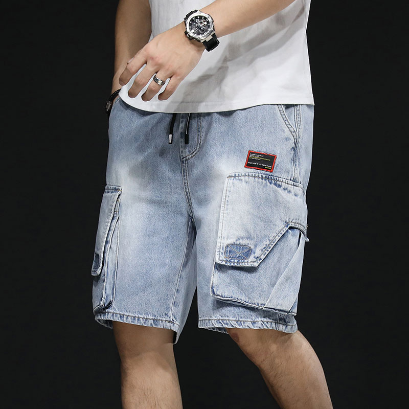Summer thin 5-point denim shorts mens seven division shorts casual loose fit straight tube elastic waist trend