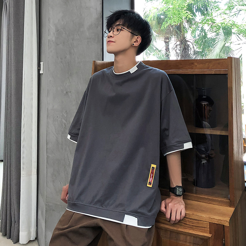 Summer round neck large short sleeve T-shirt for men Korean version loose casual cotton student top for men