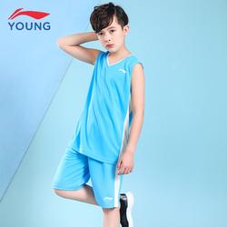 李宁童装男童运动套装T恤2020夏短袖新款篮球服速干儿童两件套