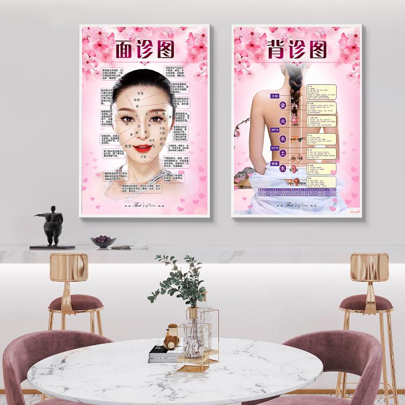 美容院装饰挂画养生馆背景墙海报贴纸 SPA理疗保养宣传画广告贴画 Изображение 1