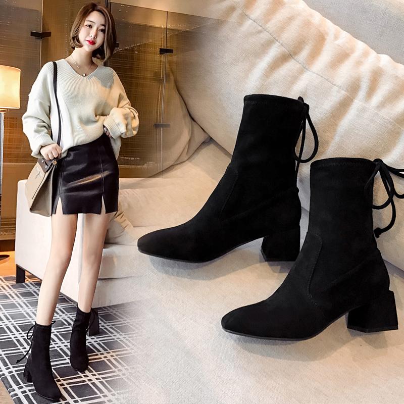10月20日最新优惠粗跟短靴女百搭2019新款秋季女鞋时尚中跟单靴子网红马丁靴瘦瘦靴