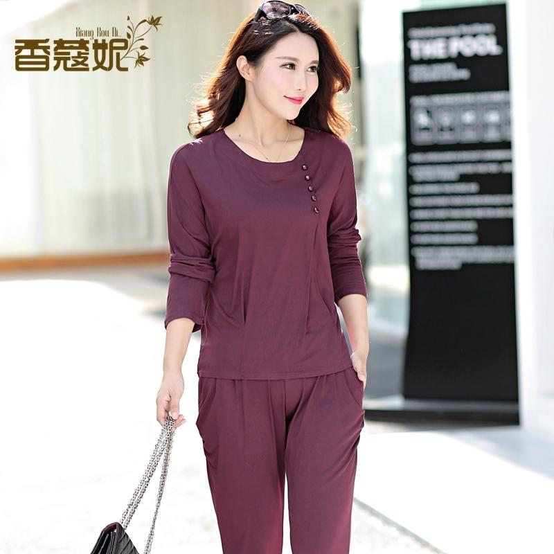 中年女装妈妈装春秋装套装40-50岁中老年人时尚休闲两件套运动服