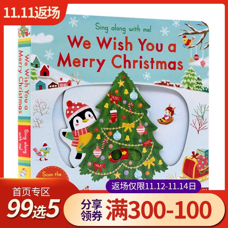 英文原版绘本 sing along with me We Wish You a Merry Christmas 圣诞节快乐 童谣纸板机关操作书 低幼儿启蒙趣味玩具书 送音视