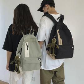 日系原宿简约休闲帆布书包男时尚潮流韩版高中大学生双肩包背包女