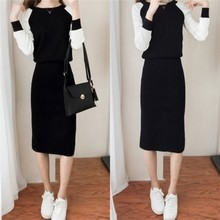 Knitted sweater dress spring and autumn models 2018 new female Korean version of the temperament two-piece suit lady bag hip suit skirt