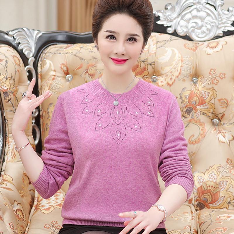 40中老年针织打底衫毛衣502019新款洋气妈妈秋装长袖中年女上衣岁